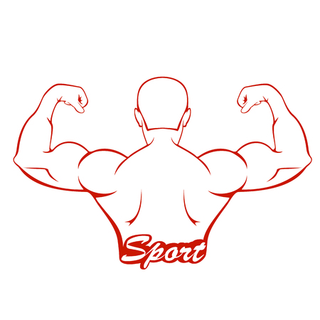 strong: Silhouette of a muscular man and lettering sport, red icon isolated on white background, illustration.