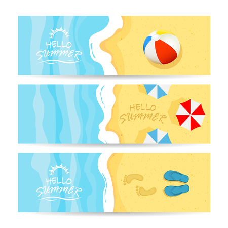 Set of three summer cards with ocean or sea and sandy beach. Lettering Hello Summer with colored beach ball, umbrellas and flip flops with footprints, illustration.