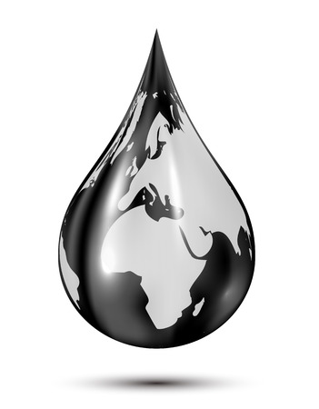 Black drop with Earth isolated on white background, drop of oil, illustration.