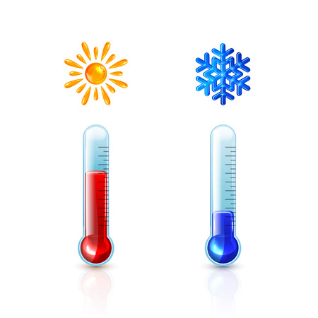Set of thermometers with red and blue indicator isolated on white background, summer Sun and winter Snowflake, illustration. Illustration