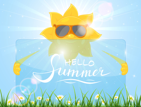 Smiling sun with sunglasses and transparent card on grass with lettering Hello Summer, illustration.