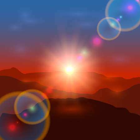 Beautiful landscape with shining sun, sunrise or sunset in the mountains, illustration.