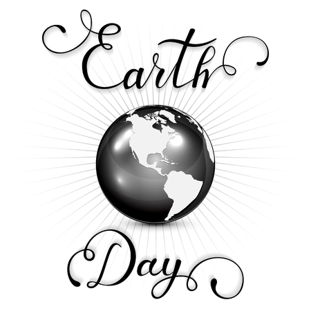white background: Black globe on white background and lettering Earth Day, illustration.