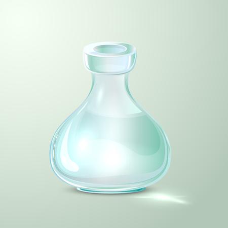 elixir: Botella de cristal vacía del laboratorio, frasco transparente, ilustración.