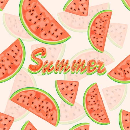 sliced fruit: Seamless background with red juicy watermelon slices and lettering Summer, wallpaper with ripe fruit on white background, illustration.