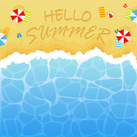 Summer background with ocean or sea and sandy beach. Lettering Hello Summer with colored beach ball, umbrellas, towels and flip flops with footprints, illustration.