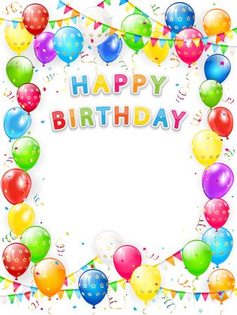 Gelukkige verjaardag belettering. Kader van vliegende kleurrijke ballons, multicolored wimpels, wimpels en confettien op witte achtergrond, illustratie.