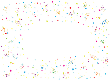 streamers: Happy Birthday background with multicolored streamers and confetti, illustration. Illustration
