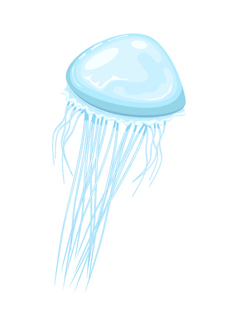 Blue jellyfish isolated on white background, illustration.
