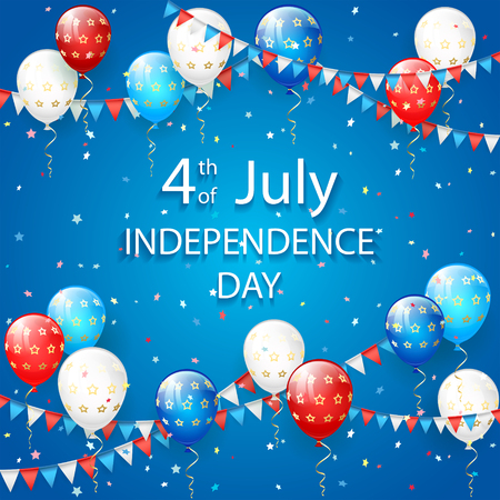 red balloons: USA Independence day. Theme 4th of july with flying colorful balloons, pennants and confetti on blue background, illustration.