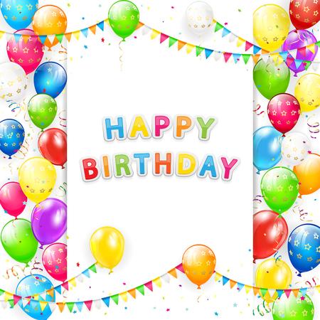 Carte avec inscription joyeux anniversaire. Cadre de voler des ballons colorés, des banderoles multicolores, des fanions et des confettis, illustration.