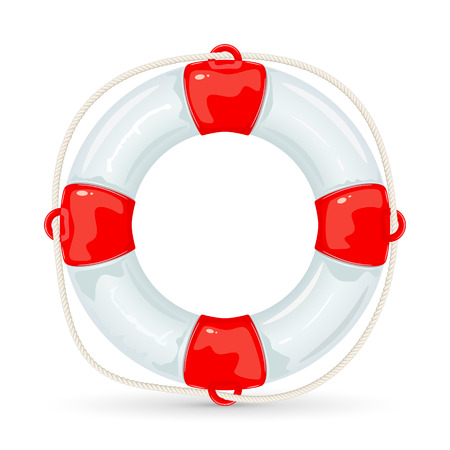 water: Lifebuoy with rope isolated on white background, illustration.