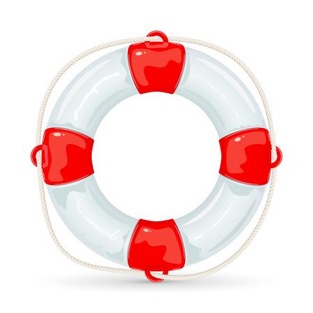 Lifebuoy with rope isolated on white background, illustration.