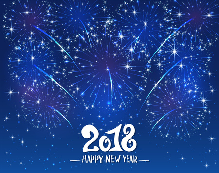 happy: Lettering Happy New Year 2018 and sparkling fireworks on blue shiny background, holiday greeting, illustration.