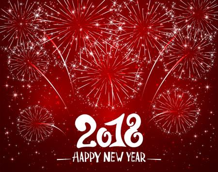 레터링 행복 한 새 해 2018 및 빨간색 반짝이 배경, 휴일 인사말, 그림에 반짝이 불꽃 놀이.