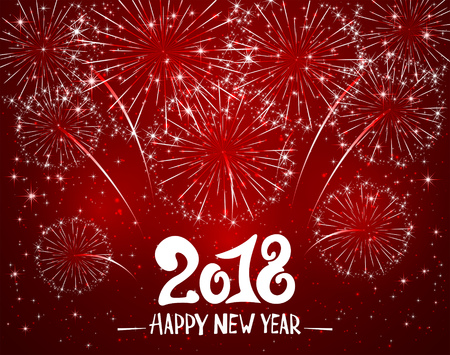 Lettering Happy New Year 2018 and sparkling fireworks on red shiny background, holiday greeting, illustration.