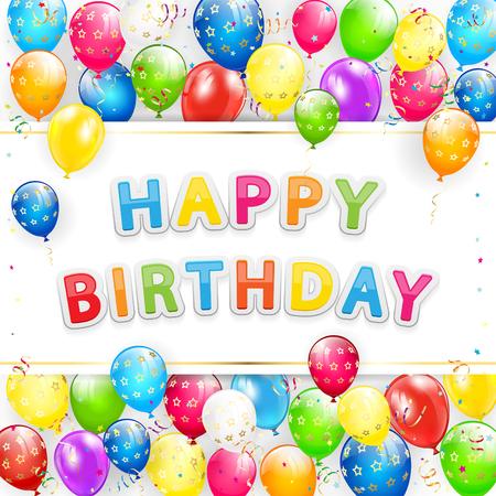 레터링 인사말 카드 생일 축하 해요. 비행 다채로운 풍선, 여러 가지 빛깔 된 깃발 색종이, 그림의 프레임.