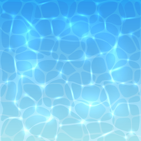 sheer: Sea or ocean water background with sun reflections. Blue water surface of the pool with ripples, illustration.