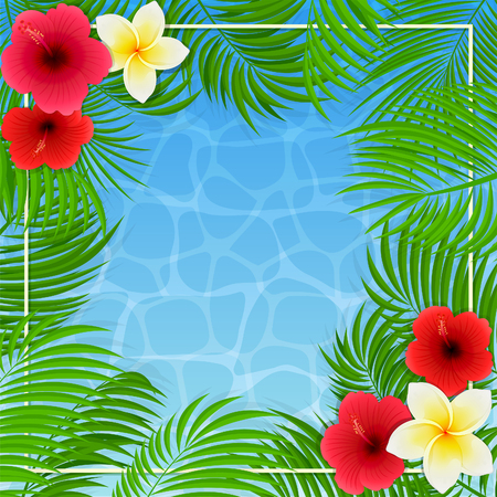Summer background with palms and Hawaiian flowers Illustration