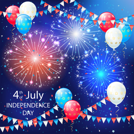 Holiday balloons, colorful pennants and fireworks on sky background. Independence day. Fourth of july, illustration.