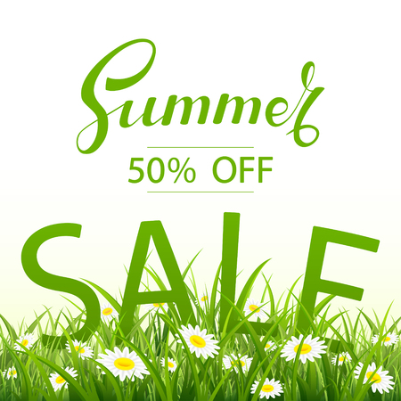 earth day: Lettering Summer Sale with grass and flowers on white background, illustration.
