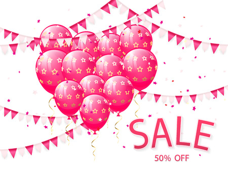 red balloons: Lettering Sale with pink balloons and pennants on white background, illustration.