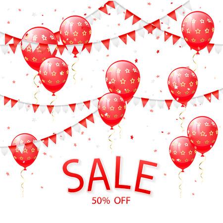 Lettering Verkoop met rode ballonnen en wimpers op witte achtergrond, illustratie.