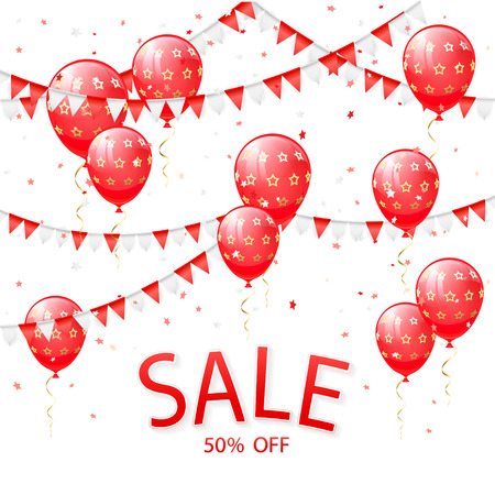 Lettering Sale with red balloons and pennants on white background, illustration. Illustration