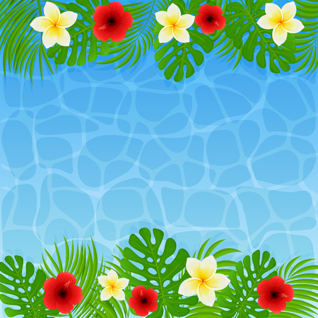 Frame of palm leaves with tropical flowers. Frangipani and hibiscus with green leaves on blue water background, illustration. Illusztráció