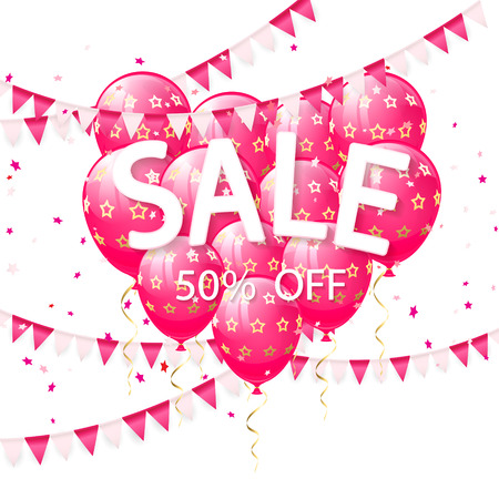 Lettering Sale with pink balloons in the form of heart and pennants on white background, illustration.