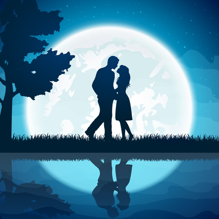 february 14th: Silhouette of two enamored with Moon on the night sky background, illustration.