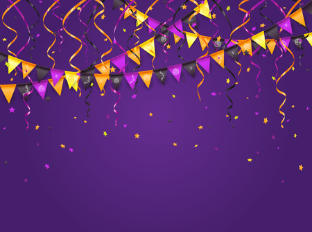 streamers: Halloween violet background with multicolored pennants, streamers and confetti, illustration.