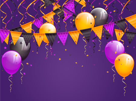 Halloween violet background with multicolored pennants, balloons, streamers and confetti, illustration.