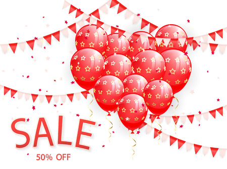 Red balloons in the form of heart and pennants on white background with lettering Sale, illustration. Vettoriali