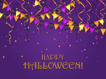 celebration party: Lettering Happy Halloween on violet background with multicolored pennants, streamers and confetti, illustration. Illustration