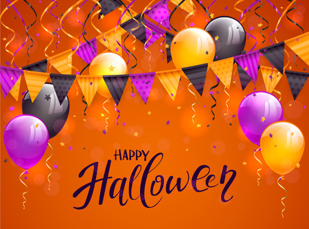halloween background: Lettering Happy Halloween on orange background with multicolored pennants, balloons, streamers and confetti, illustration.
