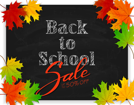 school: Lettering Back to School and Sale on black chalkboard with colorful maple leaves. Text written in white chalk, illustration. Illustration