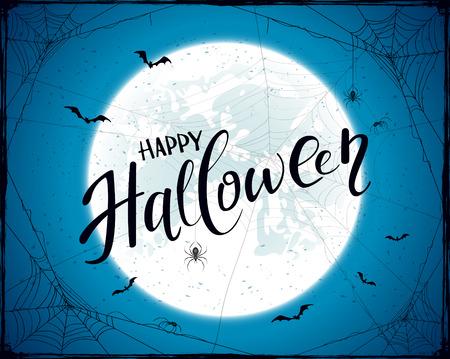 Belettering Happy Halloween met grunge decoratie. Abstracte blauwe Halloween-achtergrond met grote Maan, zwarte spinnen, spinnewebben en vliegende knuppels, illustratie. Stock Illustratie