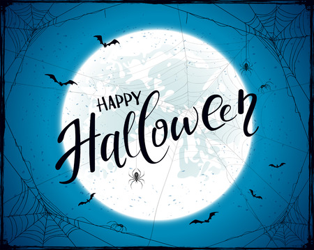 Lettering Happy Halloween with grunge decoration. Abstract blue Halloween background with big Moon, black spiders, cobwebs and flying bats, illustration. Illustration
