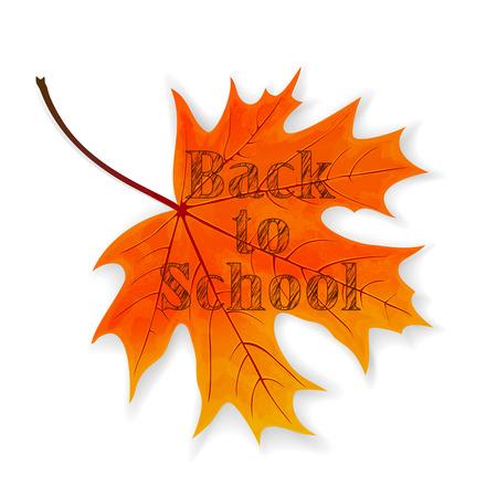 Lettering Back to School on maple leaf, illustration. Illustration