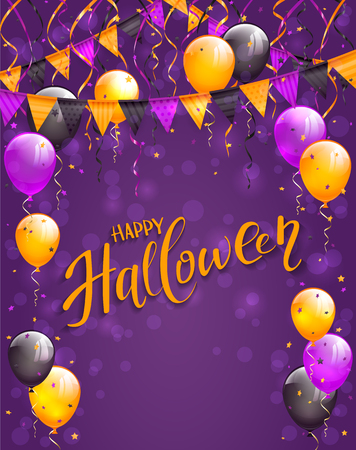 Text Happy Halloween on violet background with multicolored balloons, pennants, streamers and confetti, illustration. Illustration