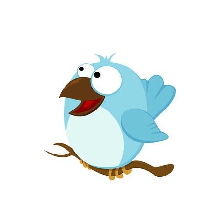 Blue happy bird isolated on white background, illustration.