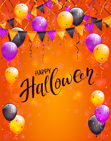 Text Happy Halloween on orange background with multicolored balloons, pennants, streamers and confetti, illustration. Illustration