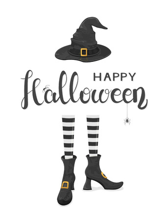 happy people: Spiders on lettering Happy Halloween with witches legs in shoes and black hat on white background, illustration.