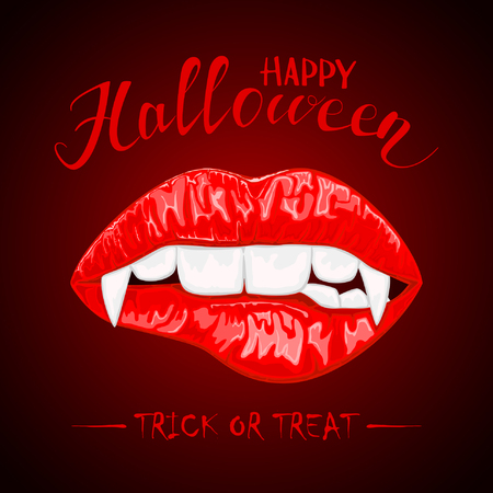 Female lips with vampire fangs and lettering Happy Halloween illustration.