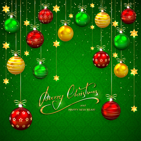 red wallpaper: Green background with Christmas balls and golden stars. Illustration