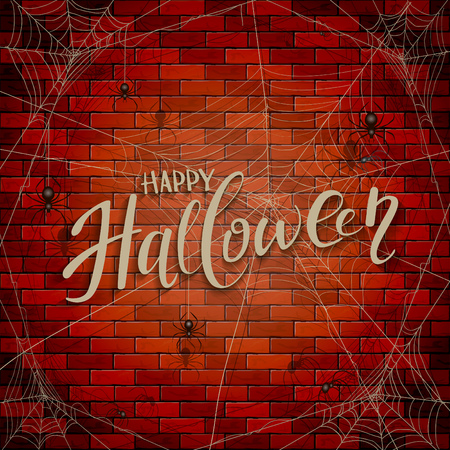 Text Happy Halloween on brick wall background with cobwebs and black spiders, illustration.
