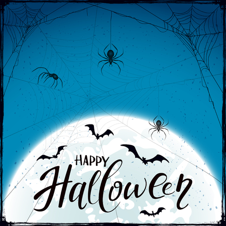 abstract blue halloween background with moon, black spiders, cobwebs and flying bats.