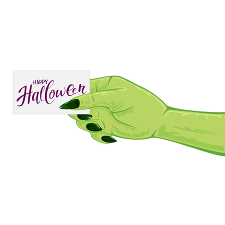 creepy alien: Green hand of witch isolated on white background and card with text Happy Halloween, illustration.
