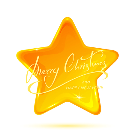 five stars: Yellow star with lettering  Merry Christmas and Happy New Year isolated on white background, illustration.